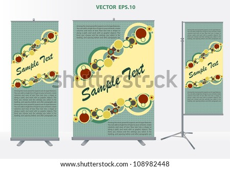Vector roll up banner stand with identity background ready for use.