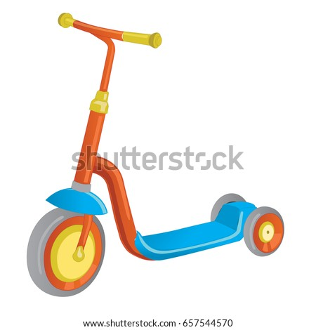 Vector roller scooter. Balance bike. Cartoon cute color kick scooter. Push scooter isolated on white. Eco transport for kids