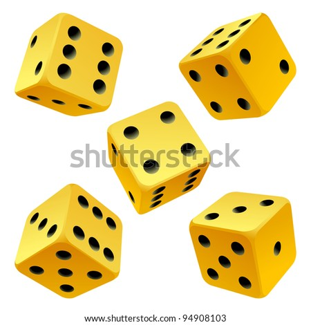 Vector rolling yellow game dice set isolated on white background