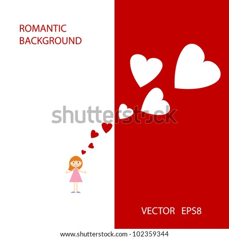 Vector romantic background with cute little girl and hearts #102359344