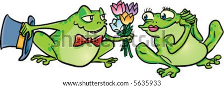 vector romantic frog offers his girlfriend a bouquet of spring flowers cartoon