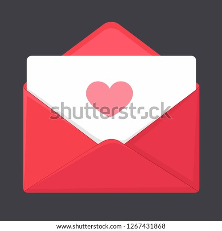 Vector romantic icon red envelope. In the envelope is a card with a heart. Illustration of a love letter in flat style.