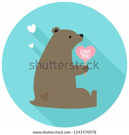 vector romantic love bear icon