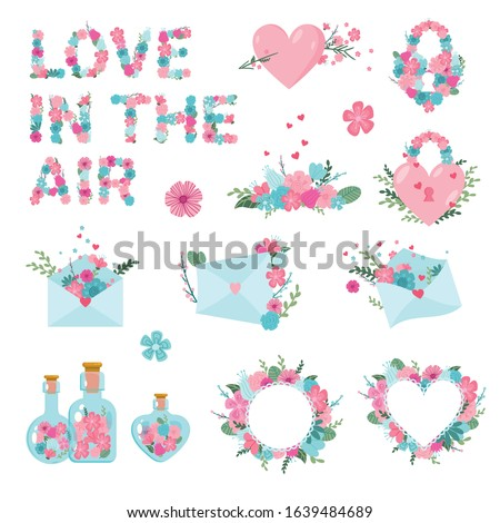Vector romantic set. Collection of flowers, hearts, love letters, stickers, love potion for spring holiday, wedding, valentines day, invitation, cards and invitations design elements, isolated vector
