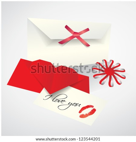 Vector romantic set - envelope, love letter with lips print on paper, flower made from paper stripes