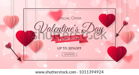 Vector romantic template of sale horizontal banner for Valentine's Day with red and pink realistic paper hearts, arrows, ribbon and frame. Holiday blur background for discount and special offers.