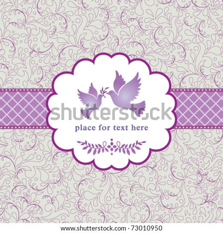stock vector Vector romantic vintage style card with love birds and