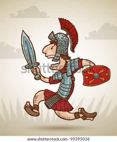 vector Rome warrior 4 - stock vector