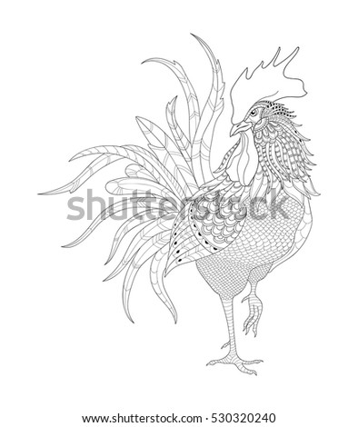 Vector rooster, zen tangle for adult coloring pages and anti stress coloring books, print on the T-short.
