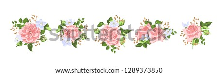 Vector Rose Bouquet, Vintage Floral Decoration. Invite Card Design in Rustic Style. Hand Drawn Watercolor Roses, Bouquet of Flowers and Green Leaf. Romantic Summer Garden Wreath of Pink Isolated Rose. #1289373850