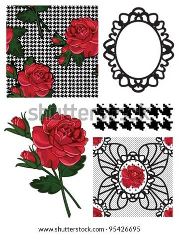 Vector Rose Patterns and Icons.  Use to create great backgrounds or craft projects.