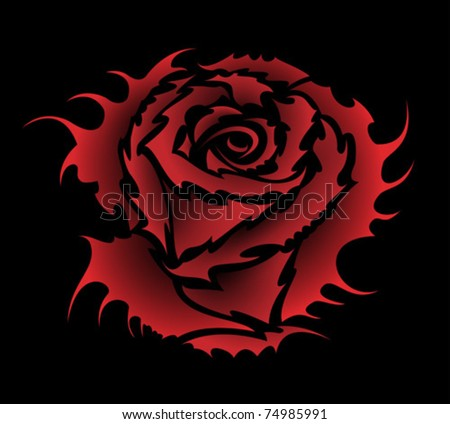 vector rose tattoo style