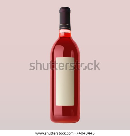vector rose wine bottle with blank label