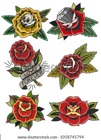 Vector Roses Traditional Tattoo Art