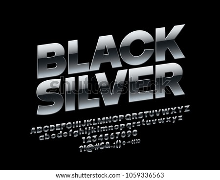 Vector rotated Black Silver Font. Metallic extra Alphabet Letters, Numbers and Symbols
