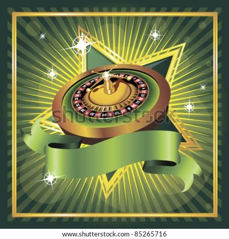 vector roulette wheel on green background - stock vector