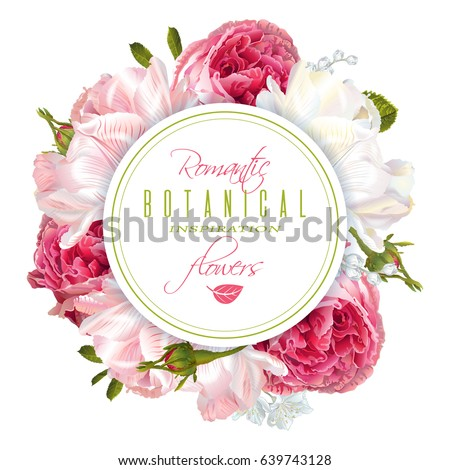 Vector round banner with garden roses and tulip flowers on white background. Romantic design for natural cosmetics, perfume, women products. Can be used as greeting card or wedding invitation