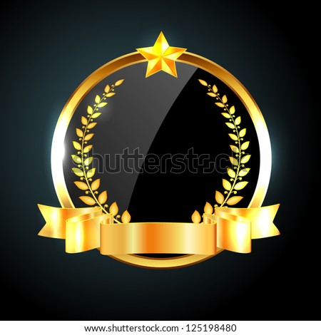 Vector round black glossy label / banner with shiny golden ribbon, laurel wreath and golden star