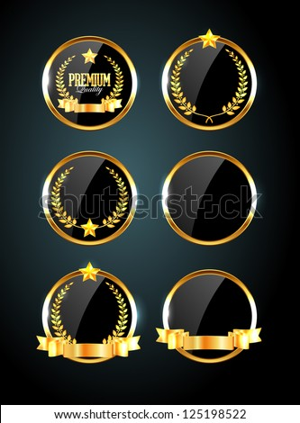 Vector round black glossy labels / banners / frames with shiny golden ribbons, laurel wreaths and golden stars