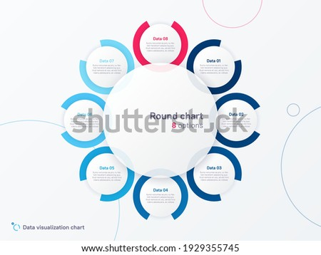Vector round circle infographic chart template divided by eight parts. Photo stock ©