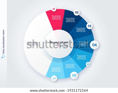 Vector round circle infographic chart template divided by seven parts.