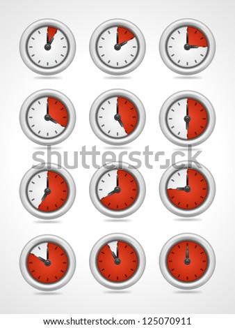 Vector round clock icons set