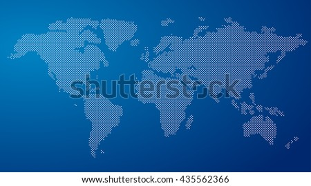 vector round dotted world map