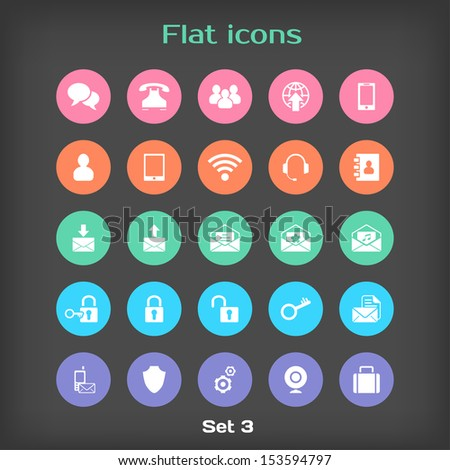 Vector Round Flat Icon Set #3 in Color Variation