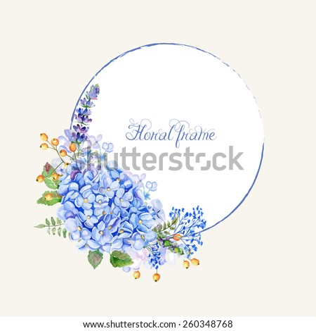 Vector round frame of blue hydrangea and other flowers. Watercolor wreath. Can be used as a greeting card for background of Valentine\'s day, birthday, mother\'s day or any other design