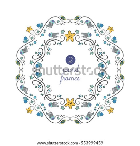 vector round frames with blue
