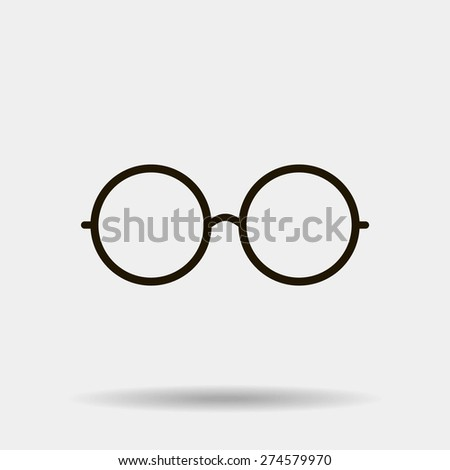 Vector Round Glasses Icon Symbol