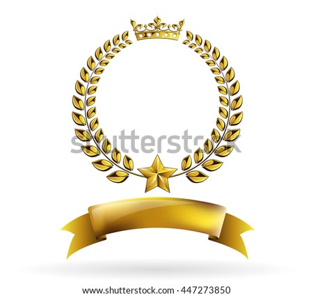 vector round golden laurel