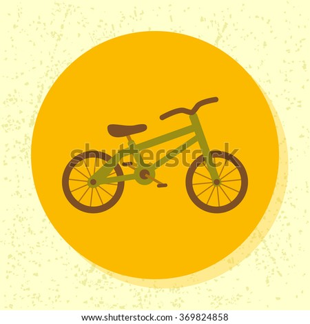 vector round icon green bicycle