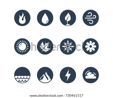 vector round icon set of fire