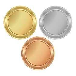 Vector round medal with empty texture of gold, silver, bronze
