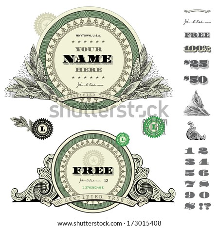 Vector round money and financial frames and ornaments. Great for any design showing money and success.