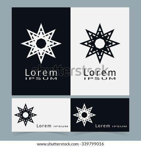 Royalty free yellow star trianglediamond shape 221178067 stock vector round ornaments collection business cards set logo icon label design elements black reheart Images