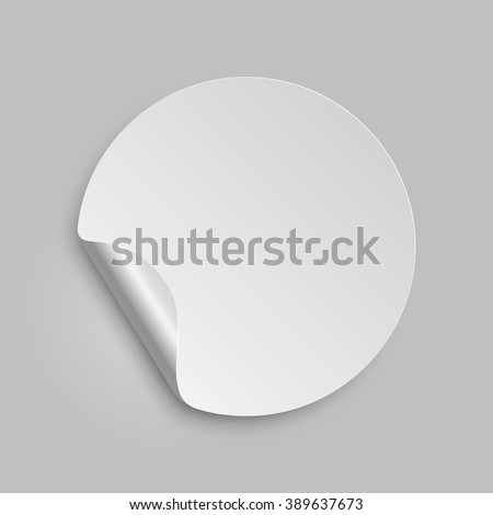 Vector round paper sticker template with bent edge. Isolated on gray background. Vector illustration, eps 10.  #389637673