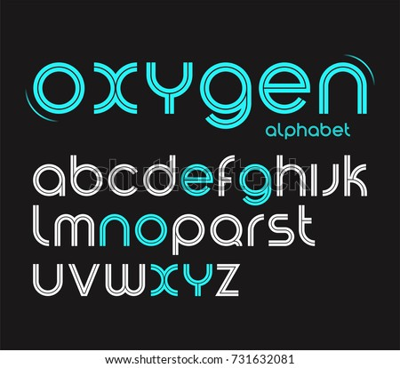 Vector round style minimalistic font, alphabet letters, typeface.