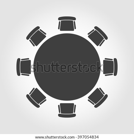 Vector round table icon.