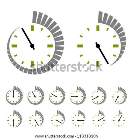 Vector round timer symbols