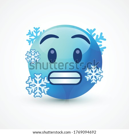 vector round yellow cartoon bubble Cold Freezing emoticons comment social media Facebook Instagram Whatsapp chat comment reactions, icon template face emoji character message