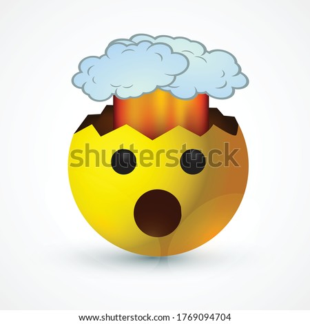 vector round yellow cartoon bubble Mind Blown Exploding Head Shocked   emoticons comment social media Facebook Instagram Whatsapp chat comment reactions, icon template face emoji character message