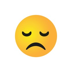 vector round yellow cartoon bubble Sad Sadface Disappointed emoticons comment social media Facebook Instagram Whatsapp chat comment reactions, icon template face emoji character message