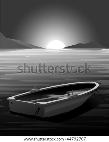 Vector Rowing Boat - Sunset - Dark Scene. (only gradient used, easy to edit)