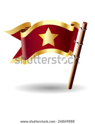 Vector royal flag button with star icon on red and gold background