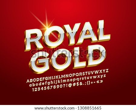 Vector Royal Gold Alphabet Letters, Numbers and Symbol. 3D Luxury Font. #1308851665