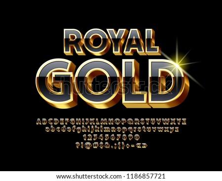 Vector Royal Gold Unique Font. Elite 3D Alphabet Letter, Numbers and Symbols.