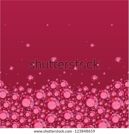 Vector ruby heart horizontal seamless pattern background ornament with geometric elements.