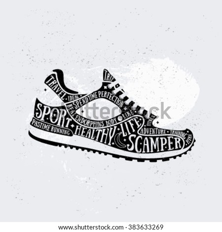 Vector Run Typography Poster With Training Shoes Icon ...